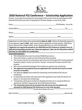 2020 National FCE Scholarship Applicatio