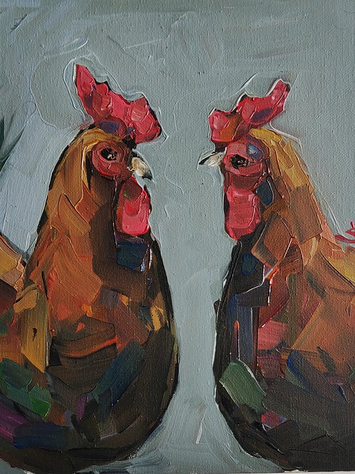 Original Painting 'Two Roosters'