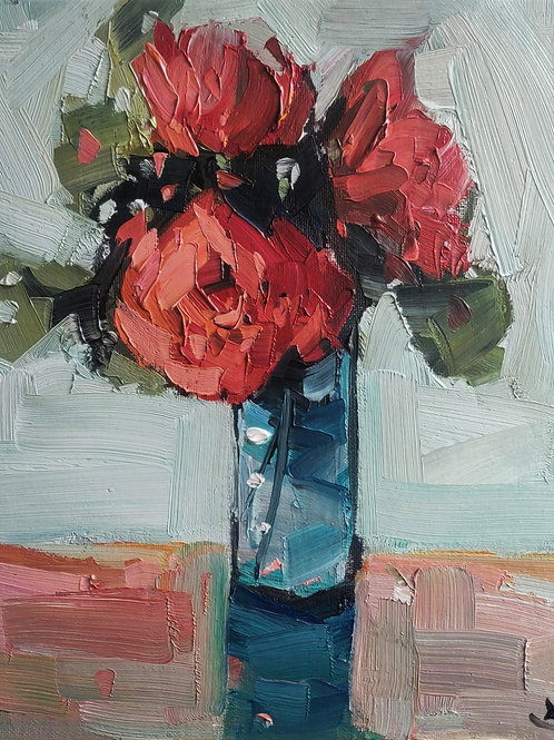 Original Painting 'Red Peony Bouquet'