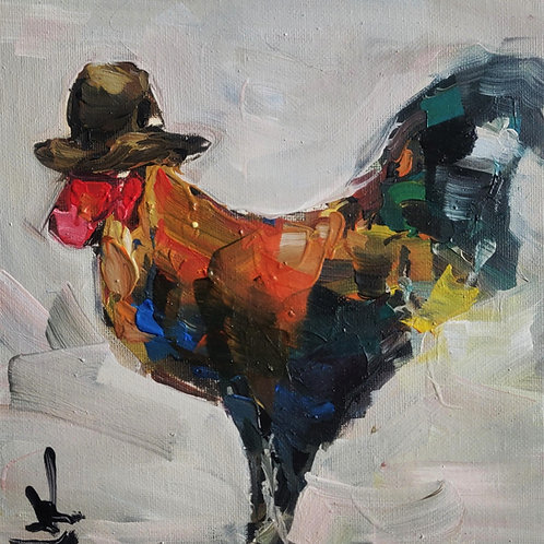Original Painting 'Top Hat Rooster'