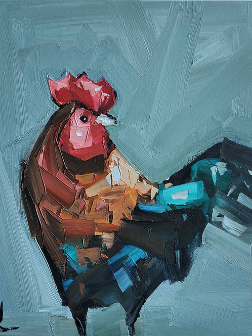 Original Painting 'Farm Rooster'