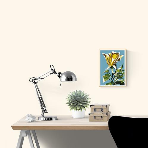 A4 Size Original Art Print 'Yellow Flower'