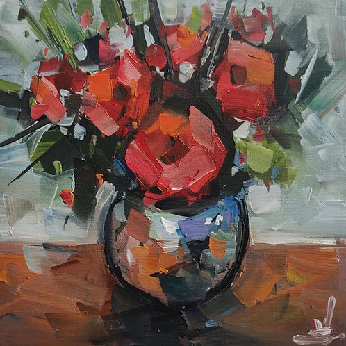 Original Painting 'Red Rose Bouquet''