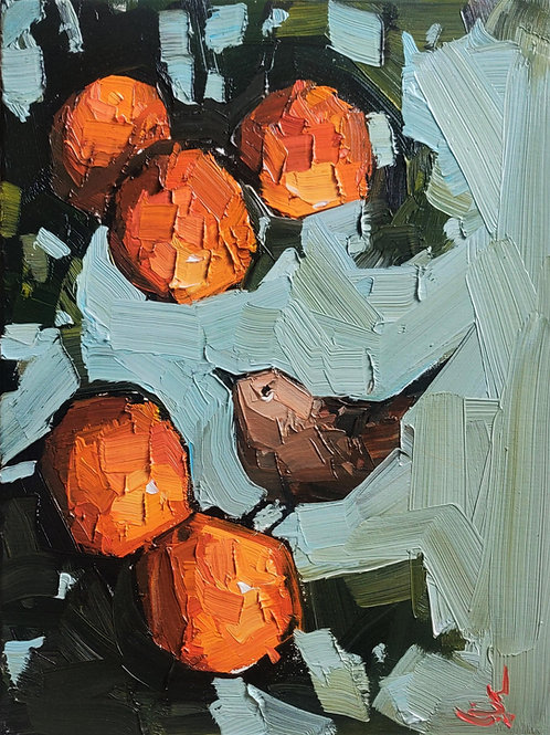 Original Painting 'Wren On The Orange Tree'