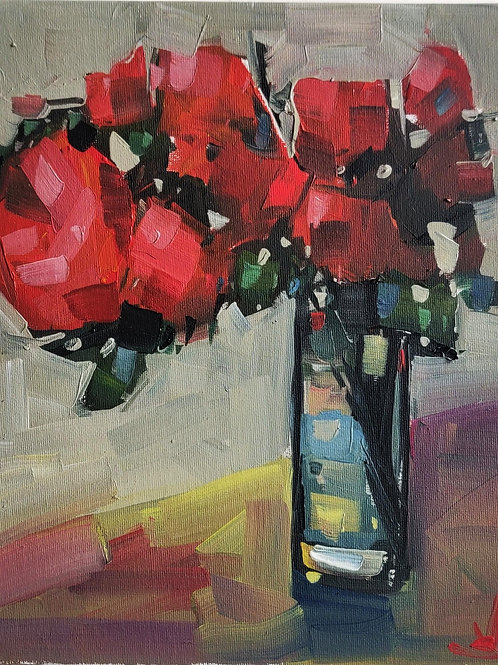 Original Painting 'Red Rose Bouquet'