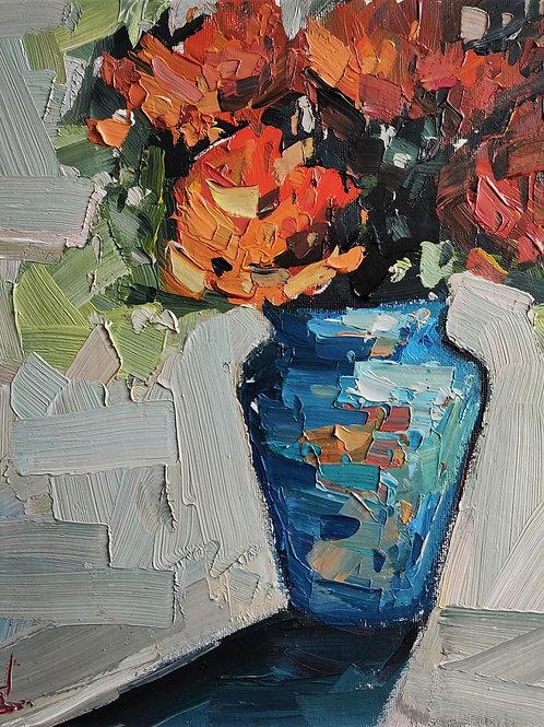Original Painting 'Orange Rose Vase'