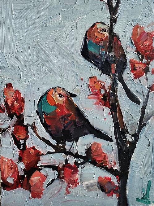 Original Painting 'Birds On The Cherry Blossom Tree'