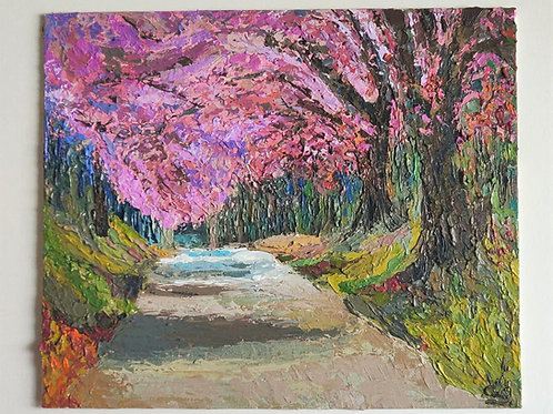 Original Painting 'Cherry Blossom Path'