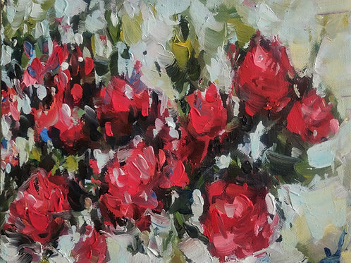 Original Painting 'Red Rose Bush'