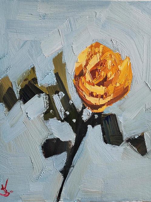 Original Painting 'Yellow Rose Stem'