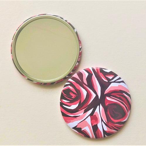 Pink Rose Pocket Mirror