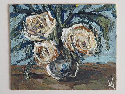 Original Painting 'White Rose Bouquet'