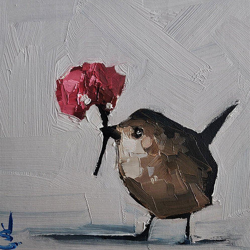 Original Painting 'Wren's Little Flower'