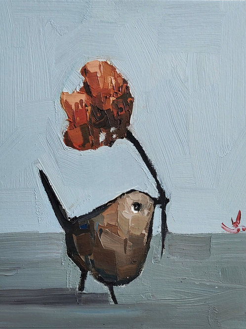 Original Painting 'Wren Holding The Flower'