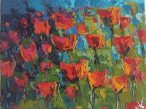 Original Painting 'Abstract Poppy Field'