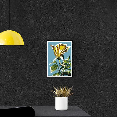 Yellow Flower Digital Art Print A4