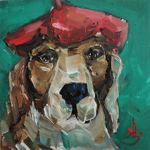 Original Painting 'Beagle's Beret'