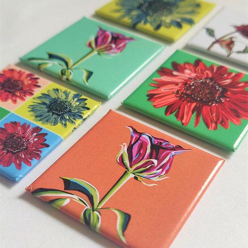 Pop Art Floral Magnets