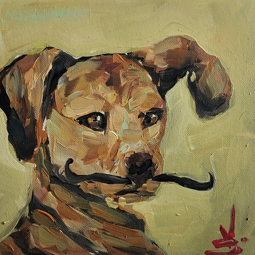 Original Painting 'Dog With A Tache'