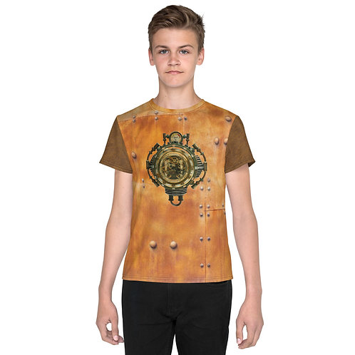 "O.G. STEAMPUNK ""Clockwork Heart"" Riveted Copper Aged Leather Look Youth T-Shirt"