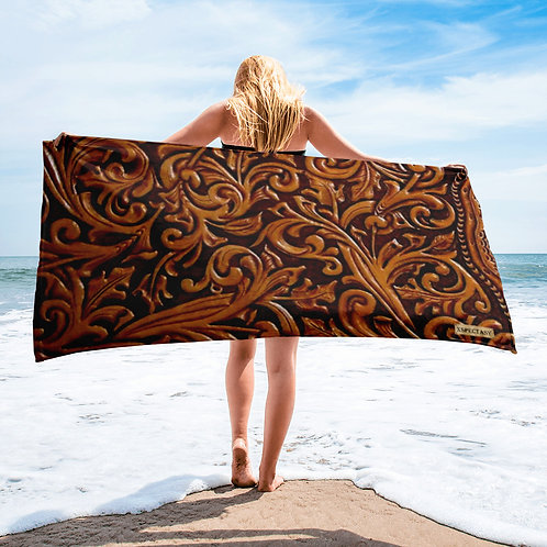 """O.G. STEAMPUNK """"Wild Wild West"""" Printed Tooled Paisley Leather Towel"""