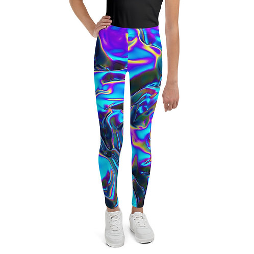 """Youth Leggings """"Holographic Blue Flame"""" Collection"""