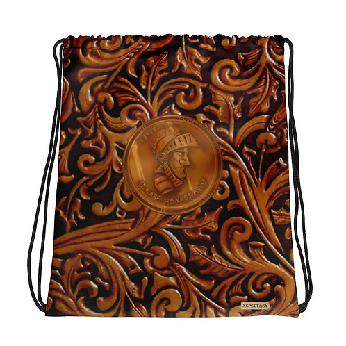 "O.G. STEAMPUNK ""Wild Wild West"" Tooled Paisley Leather & Copper Drawstring Bag"