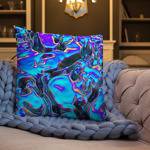 "Premium Pillow ""Holographic Blue Flame"" Collection"