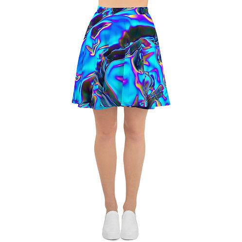 """Skater Skirt """"Holographic Blue Flame"""" Collection"""