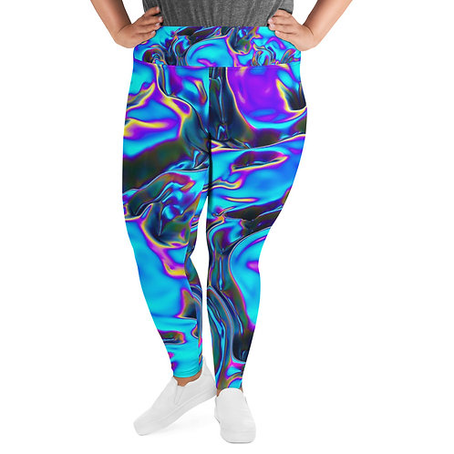 "Plus Size Premium Leggings  ""Holographic Blue Flame"" Collection"