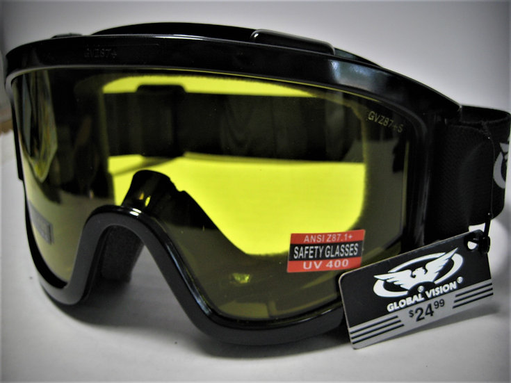 Global Vision ® Z87+ Safety Goggles Anti-Glare Anti-Fog All Weather Wind Shield