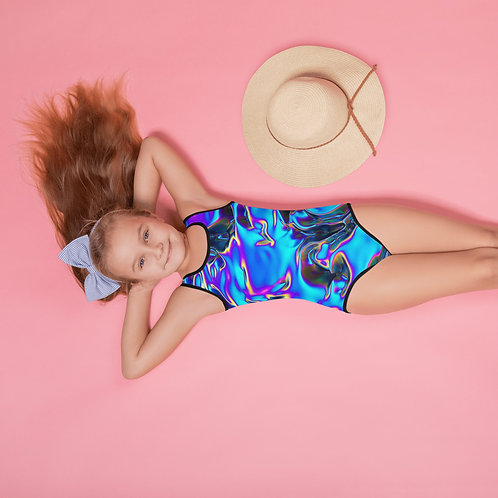 """Kids Swimsuit """"Holographic Blue Flame"""" Collection"""