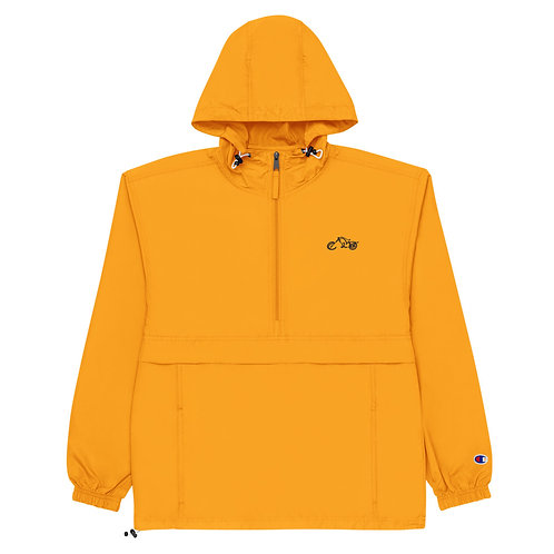 "BIKER X ""Safety Orange"" Embroidered Packable Wind Rain Snow Pack Jacket"