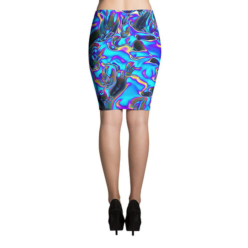 """Pencil Skirt """"Holographic Blue Flame"""" Collection"""