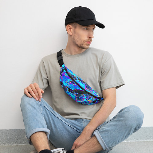 """Fanny or Shoulder Pack  """"Holographic Blue Flame"""" Collection"""