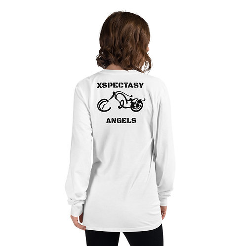 """Xspectasy Angels"" Biker Motorcyclist Long Sleeve White Cotton T-shirt"