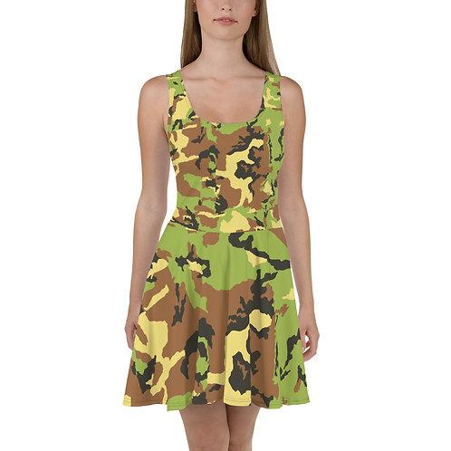 "TREKK X ""Hunter"" Green Camo Premium Skater Dress"