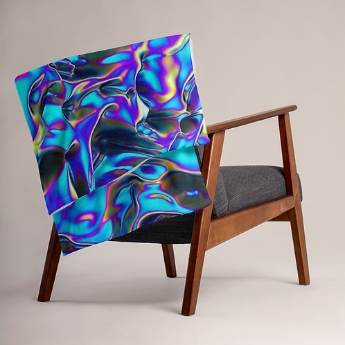 """Throw Blanket """"Holographic Blue Flame"""" Collection"""