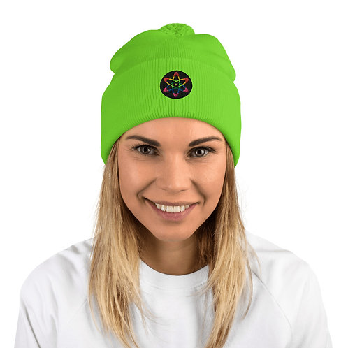 O.G. STEAMPUNK  Luminescent NEON Green Atom Embroidered Pom-Pom Beanie Hat