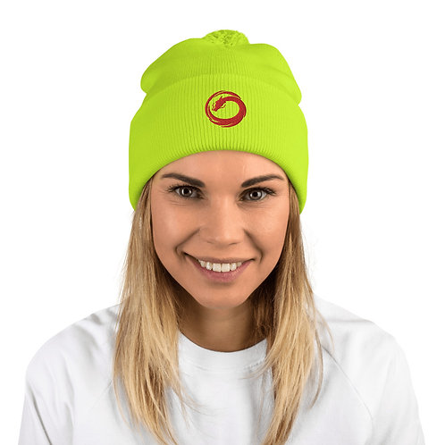ZENX Red Dragon Luminescent Neon Yellow Embroidered Pom-Pom Beanie Hat