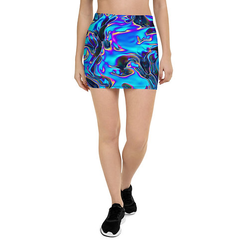 """Mini Skirt """"Holographic Blue Flame"""" Collection"""