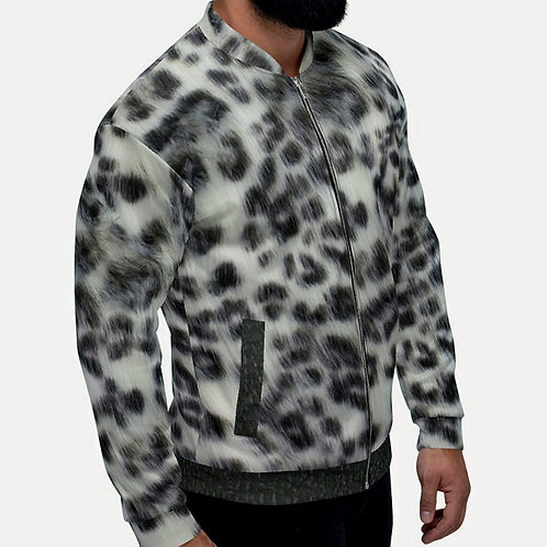 "TREKK X ""Panthera"" Real Life ® Winter Snow Leopard Camo  Unisex Bomber Jacket"