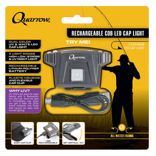 QUARROW ® USB Rechargeable C.O.B & UV LED Night Fishing Cap Light
