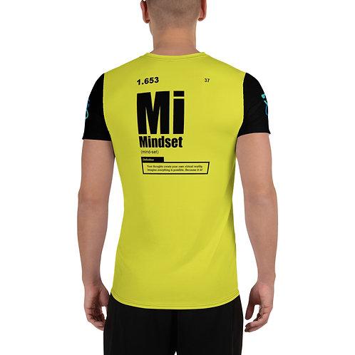 "ZENX ""Periodic Mindset"" on Yellow w Atom on Black Sleeves Men's Athletic T-Shirt"