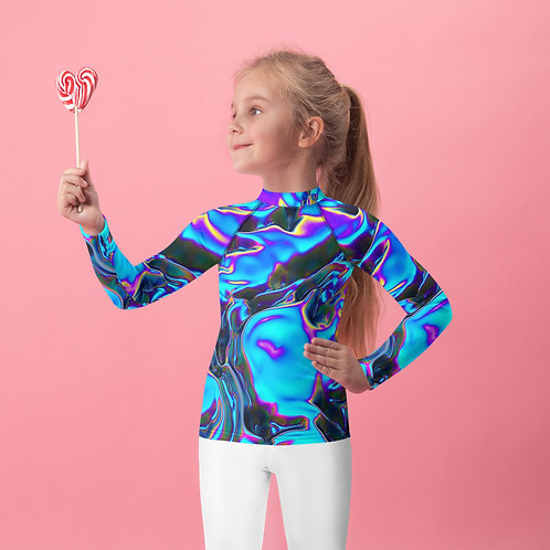 """Kids Rash Guard """"Holographic Blue Flame"""" Collection"""