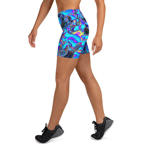 """Yoga Shorts w/ Pocket """"Holographic Blue Flame"""" Collection"""