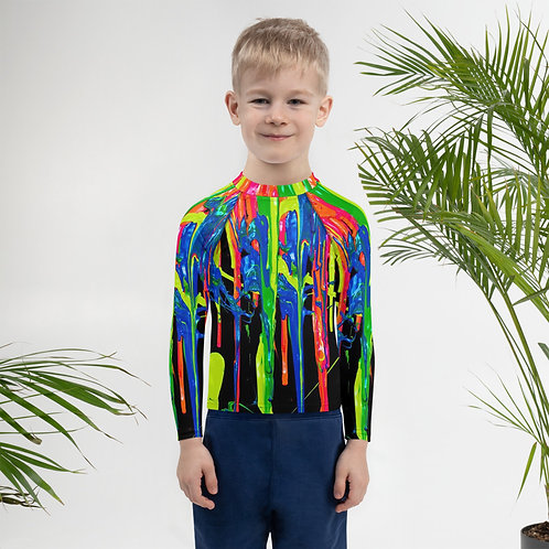 "Kids Rash Guard ""Dripping Wet Paint"""