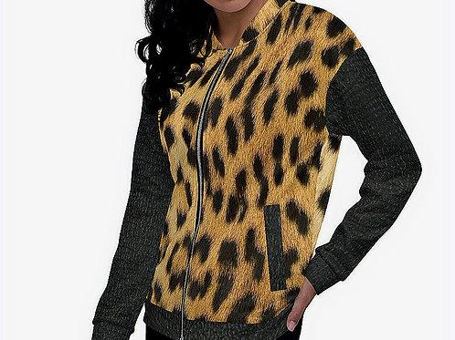 TREKK X® Panthera Leopard Camo & Leather Women's Bomber Jacket