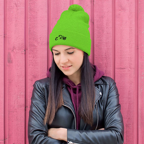 BIKER X Luminescent NEON Green Embroidered Pom-Pom Beanie Hat