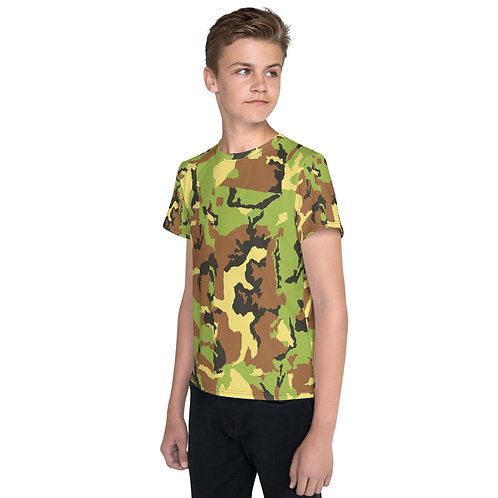 """TREKK X """"Hunter"""" Green Camo Premium Youth Camouflage T-Shirt"""